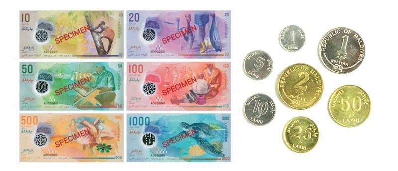 monedas billetes maldivas