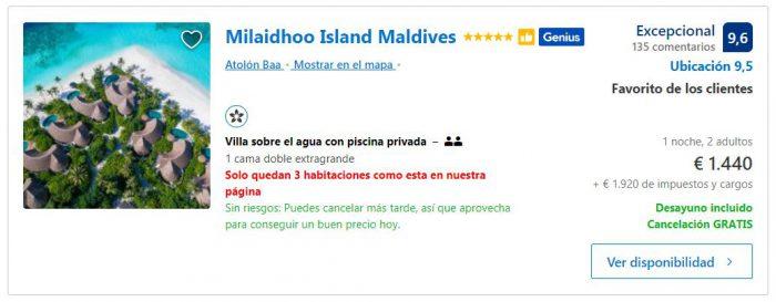 resort de lujo en maldivas